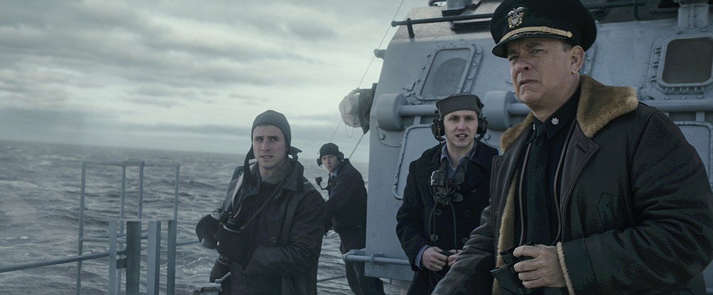 """Captain Krause (Tom Hanks) and the crew are on the lookout for German U-Boats in """"Greyhound."""""""