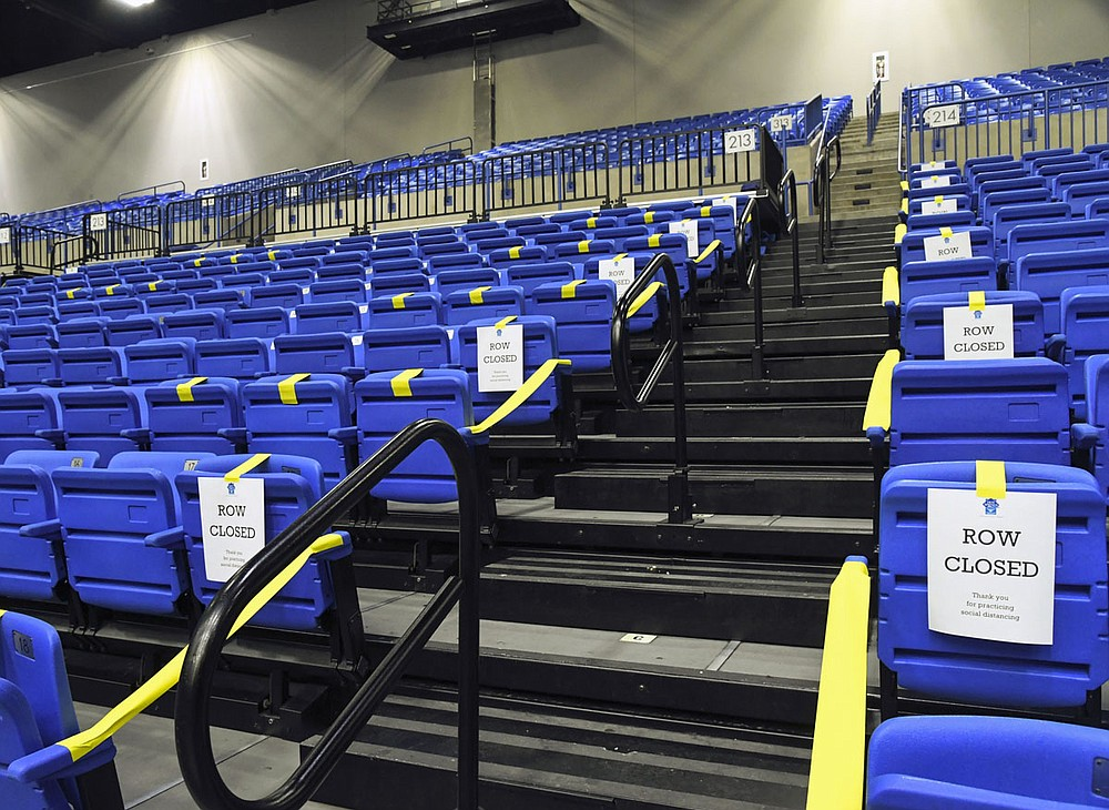 Bank OZK arena seats were set up for a socially distant graduation ceremony on Wednesday. - Photo by Grace Brown of The Sentinel-Record