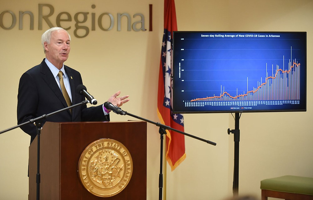 Gov. Asa Hutchinson speaks Wednesday, July 22, 2020, during his daily covid-19 briefing at the Center for Exercise on the campus of Washington Regional Medical Center in Fayetteville. Check out nwaonline.com/200723Daily/ and nwadg.com/photos for a photo gallery. (NWA Democrat-Gazette/David Gottschalk)  adgycorona20200723