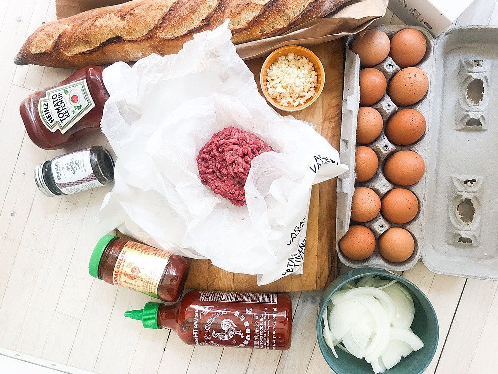 Ingredients for Roti John (Omelet and Meat Sandwich).  (Bloomberg/Kate Krader)