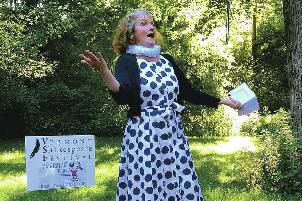 """Jena Necrason, of the Vermont Shakespeare Festival, performs """"Shakespeare,"""" in a backyard, Thursday, June 25, 2020, in Burlington, Vt. The idea for the program, known as """"Shakespeare to You,"""" or """"Bard to Your Yard,"""" was conceived as a way to keep live theater alive at a time when many social activities are being postponed or canceled amid the coronavirus pandemic. (AP Photo/Wilson Ring)"""
