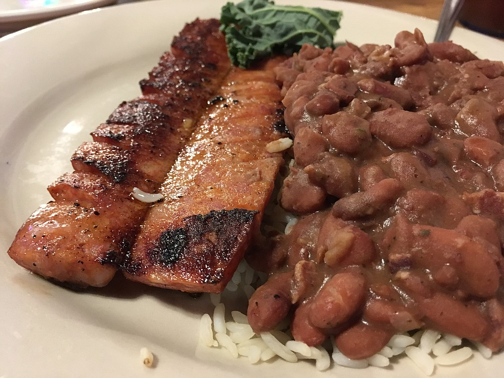 Red Beans and Rice with Andouille Sausage was a little more presentable on a plate in the Faded Rose dining room in 2018. (Arkansas Democrat-Gazette/Eric E. Harrison)