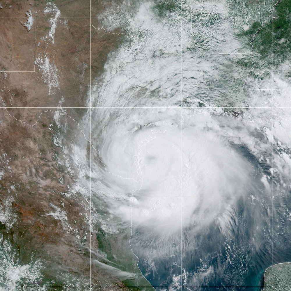 This Saturday, July 25, 2020 satellite image made available by the National Oceanic and Atmospheric Administration shows Hurricane Hanna approaching Texas at 10:20 CDT. (NOAA via AP)