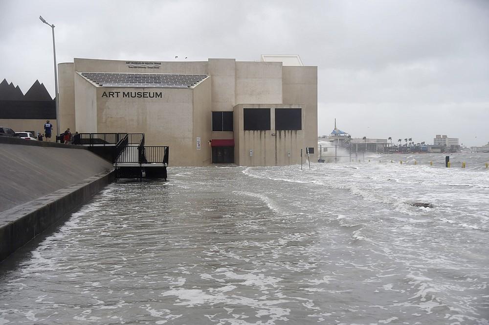 The Art Museum of South Texas is seen flooding during Hurricane Hanna, Saturday, July 25, 2020, in Corpus Christi, Texas. (Annie Rice/Corpus Christi Caller-Times via AP)