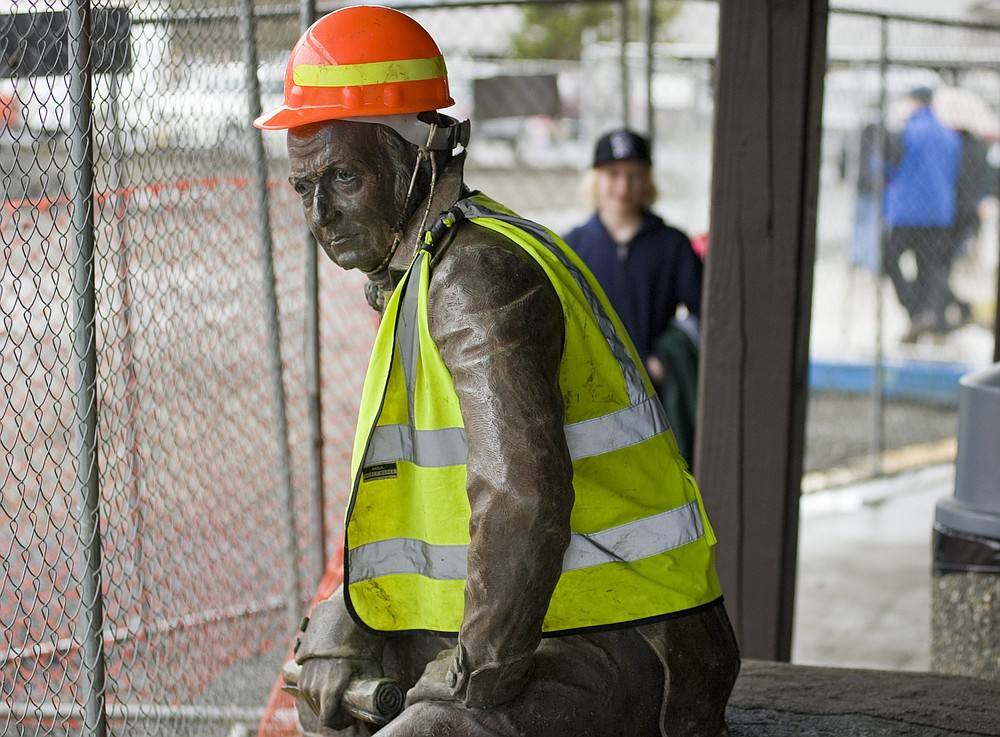 FILE - In this file photo taken Feb. 1, 2013, the bronze statue of 19th century Russian America Governor Alexander Baranov sports a hard hat and a reflective vest, after being moved from its original site in front of Centennial Hall in Sitka, Alaska. Far away from Confederate memorials, Alaska residents have joined the movement to eliminate statues of colonialists accused of abusing and exploiting Indigenous people. The effort has already resulted in the statue of Baranov being taken out of public view in the city. (James Poulson/Daily Sitka Sentinel via AP, File)