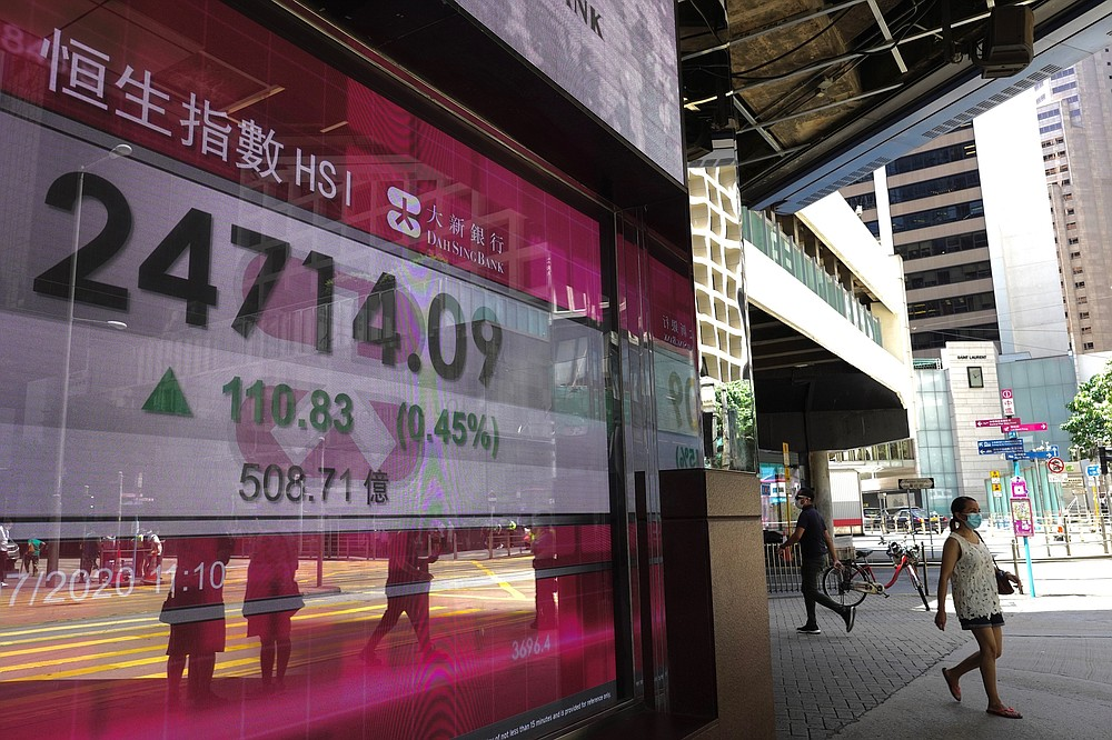 A woman wearing a face mask walks past a bank's electronic board showing the Hong Kong share index at Hong Kong Stock Exchange in Hong Kong Tuesday, July 28, 2020. Shares advanced in Asia on Tuesday after U.S. stocks resumed their upward march on Wall Street, while the price of gold pushed to nearly $1,970 per ounce. (AP Photo/Vincent Yu)