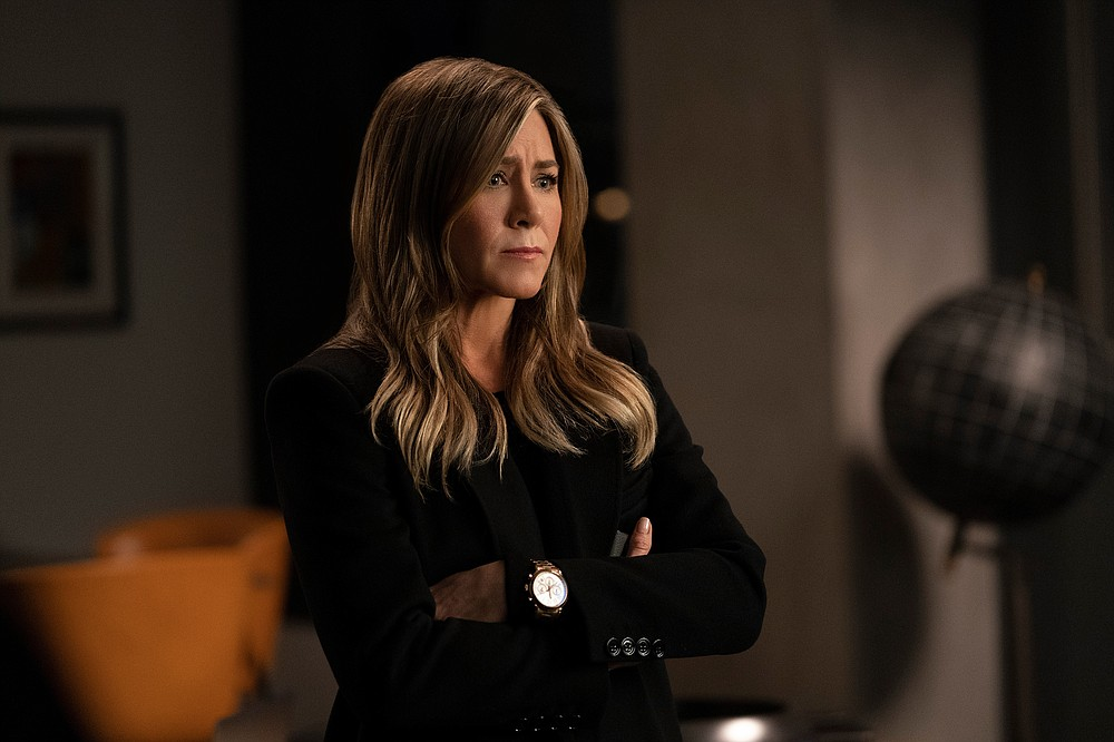 "This image released by Apple TV Plus shows Jennifer Aniston in a scene from ""The Morning Show."" Aniston was nominated for an Emmy Award for outstanding lead actress in a drama series on Tuesday, July 28, 2020. (Apple TV Plus via AP)"