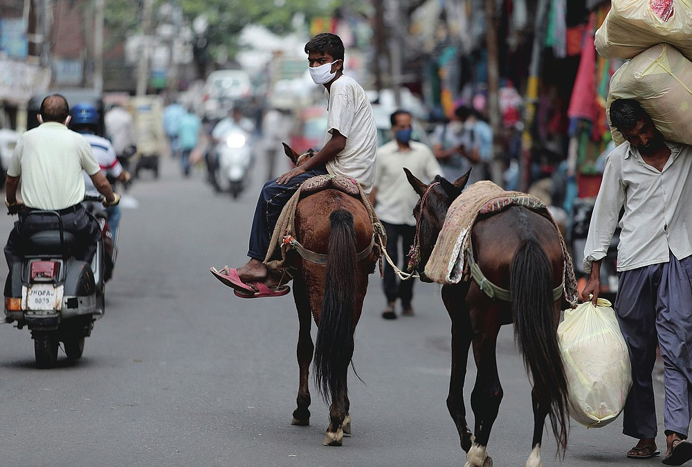 An Indian worker wears a face mask as he rides a horse in Jammu, India, on July 21, 2020. With a surge in coronavirus cases in the past few weeks, state governments in India have been ordering focused lockdowns in high-risk areas to slow down the spread of infections. (AP Photo/Channi Anand)
