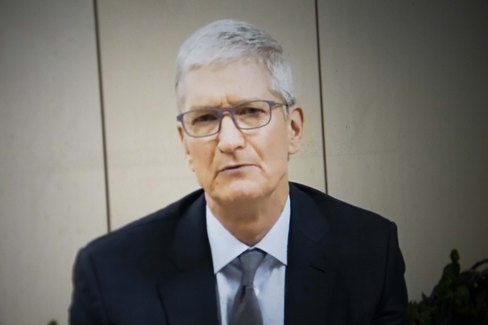 Tim Cook of Apple testifies remotely before the House Judiciary Committee on Wednesday, July 29, 2020. MUST CREDIT: Washington Post photo by Carolyn Van Houten