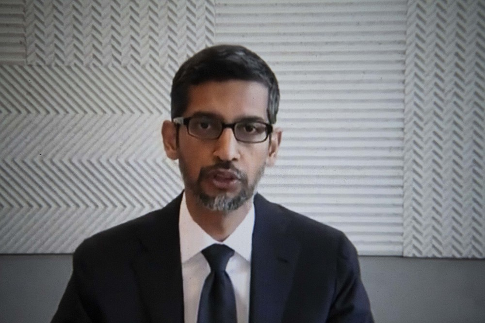 Google CEO Sundar Pichai testifies remotely before the House Judiciary Committee on Wednesday, July 29, 2020. MUST CREDIT: Washington Post photo by Carolyn Van Houten