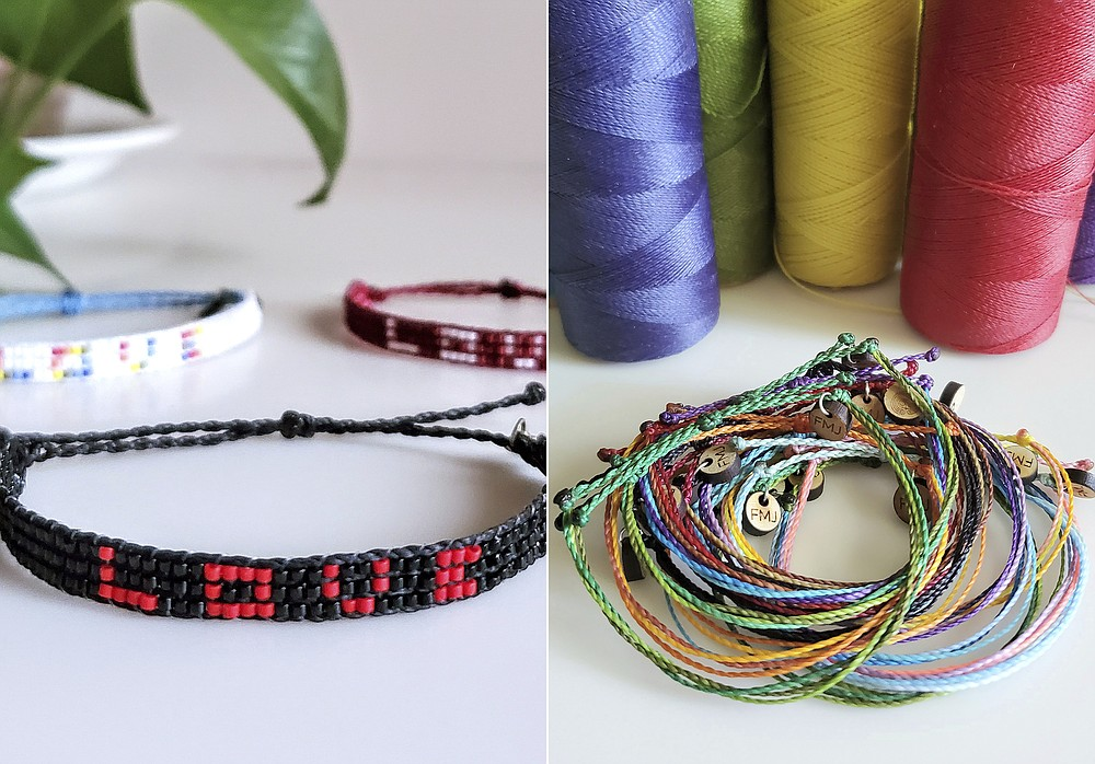 """This combination of photos provided by Jenny Florkowski shows samples of her beaded bracelets, left, and friendship bracelets for sale. Florkowski, a veteran at """"Wicked,"""" gives away all proceeds from sales. She recently donated $900 to the NAACP Legal Defense Fund and Color of Change. (Jenny Florkowski via AP)"""