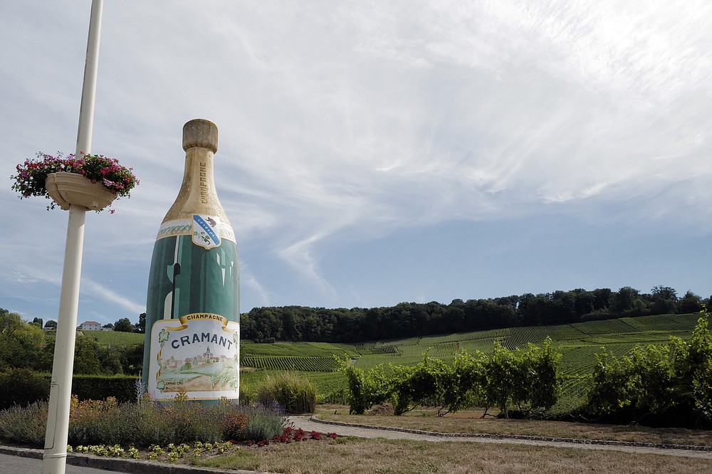 A Champagne advert is displayed at the entrance of the village in Avize, in the Champagne region, east of Paris, Tuesday, July 28, 2020. Producers in France's eastern Champagne region, headquarters of the global industry, say they've lost about 1.7 billion euros ($2 billion) in sales this year, as turnover fell by a third —  a hammering unmatched in living memory, and worse than the Great Depression. (AP Photo/Francois Mori)