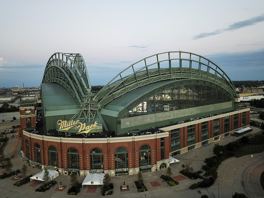 Miller Park is seen Tuesday, July 28, 2020, in Milwaukee. The Milwaukee Brewers are scheduled to host their home opener against the St. Louis Cardinals on Friday, July 31, 2020. (AP Photo/Morry Gash)