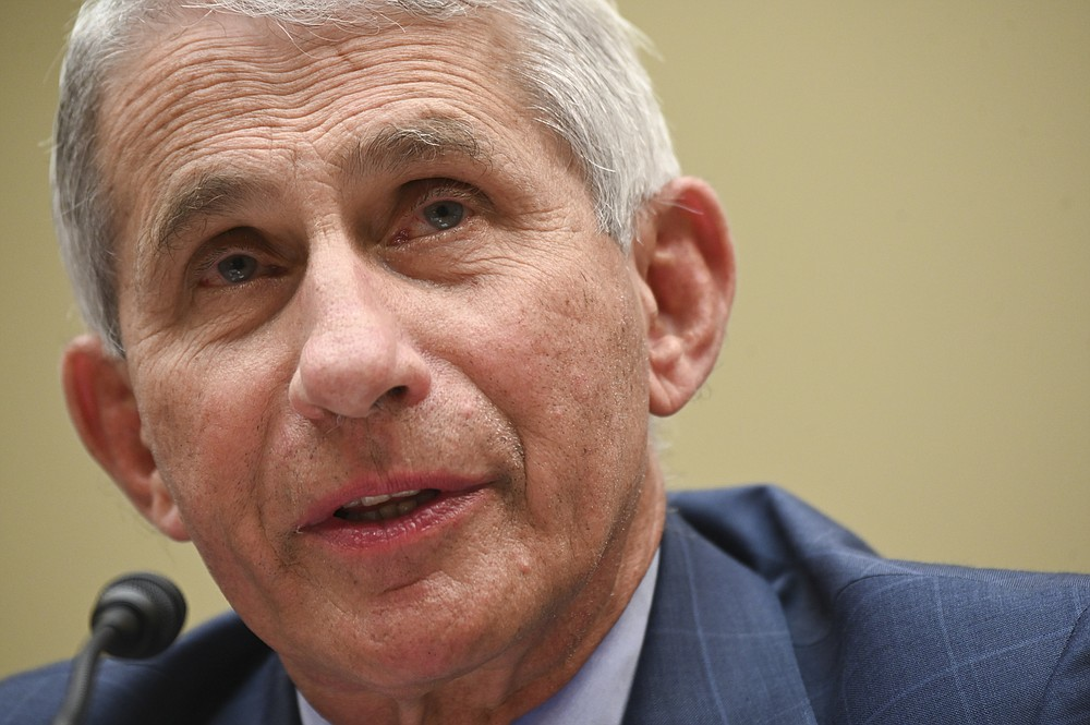 Dr. Anthony Fauci, director of the National Institute for Allergy and Infectious Diseases, testifies before a House Select Subcommittee hearing on the Coronavirus, Friday, July 31, 2020 on Capitol Hill in Washington.  (Erin Scott/Pool via AP)