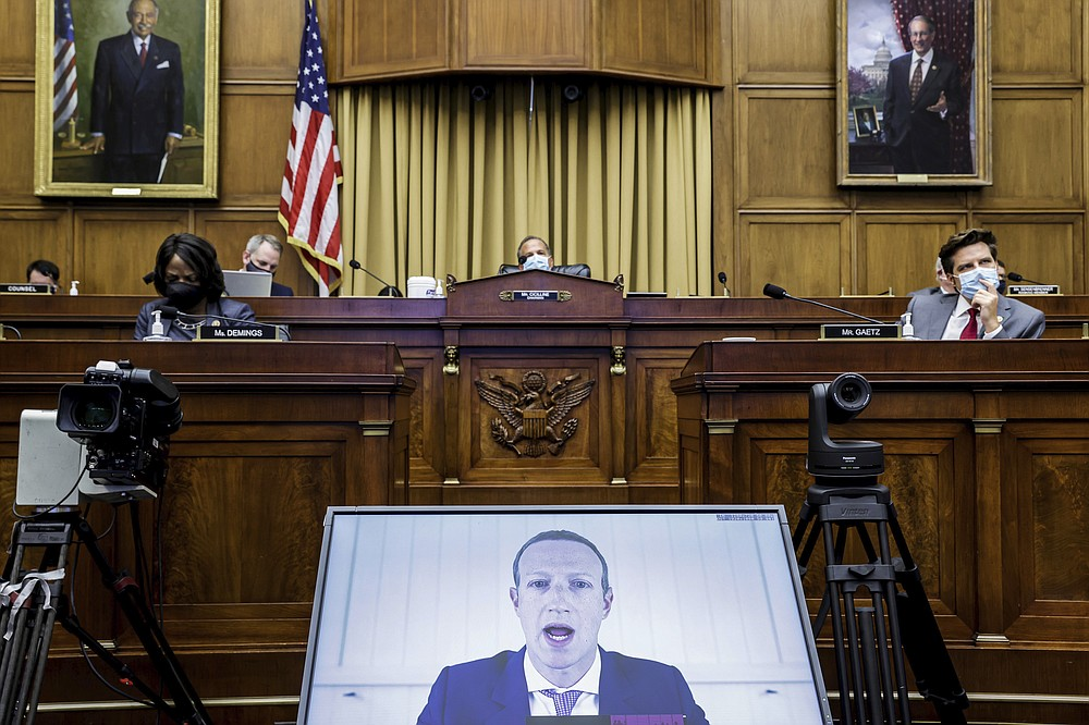 Facebook CEO Mark Zuckerberg speaks via video conference during a House Judiciary subcommittee hearing on antitrust on Capitol Hill on Wednesday in Washington. - Graeme Jennings/Pool via AP
