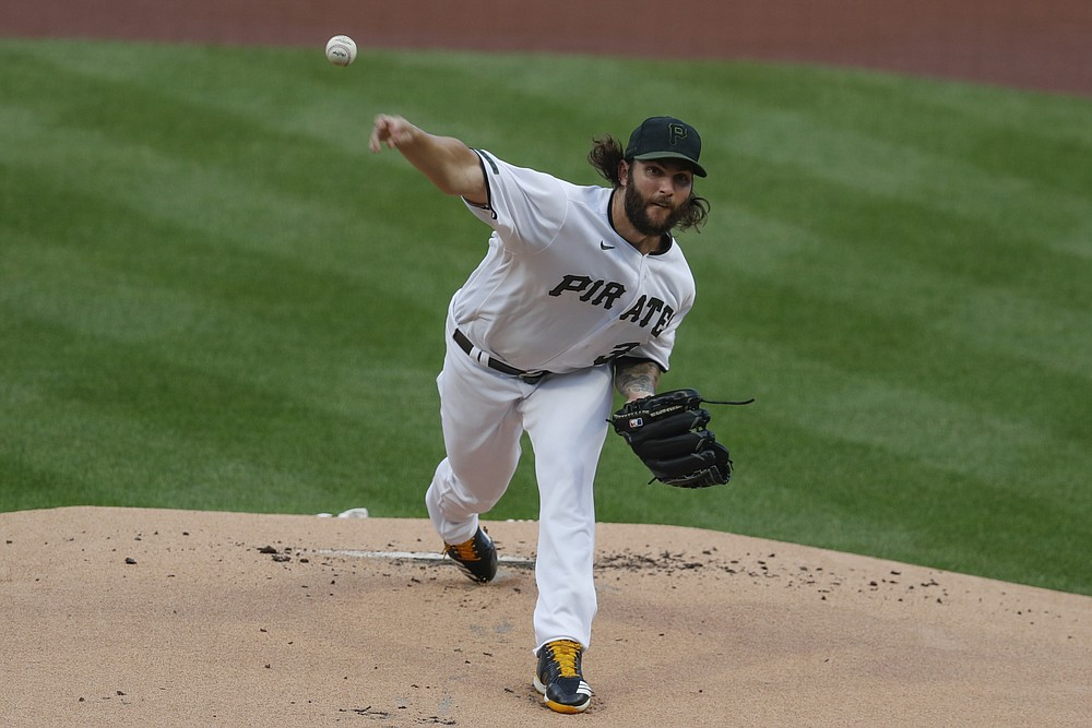 Pittsburgh Pirates starter Trevor Williams pitches against the Minnesota Twins in the first inning of a baseball game, Wednesday, Aug. 5, 2020, in Pittsburgh. (AP Photo/Keith Srakocic)
