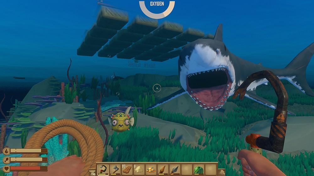 """Raft"" is a video game in which you drift the high seas while defending yourself from a shark and collecting flotsam to fancy up your raft. (Photo courtesy Redbeet Interactive)"