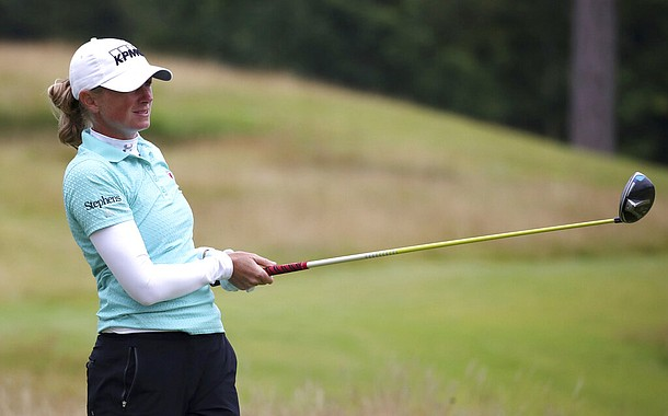 USA's Stacy Lewis on the second tee during day two of the Ladies Scottish Open at The Renaissance Club, North Berwick, Scotland, Friday Aug. 14, 2020. (Jane Barlow/PA via AP)