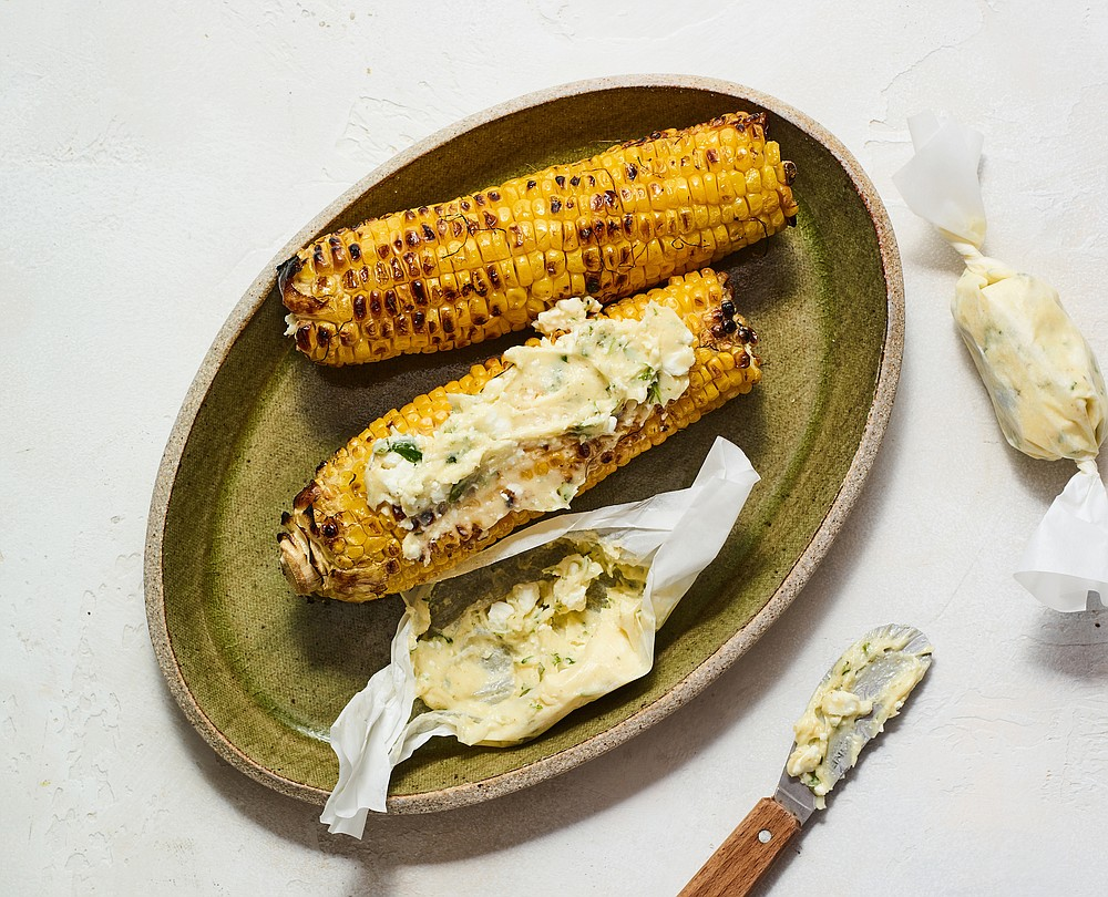Grilled Corn With Jalapeno-Feta Butter. (The New York Times/Andrew Purcell)