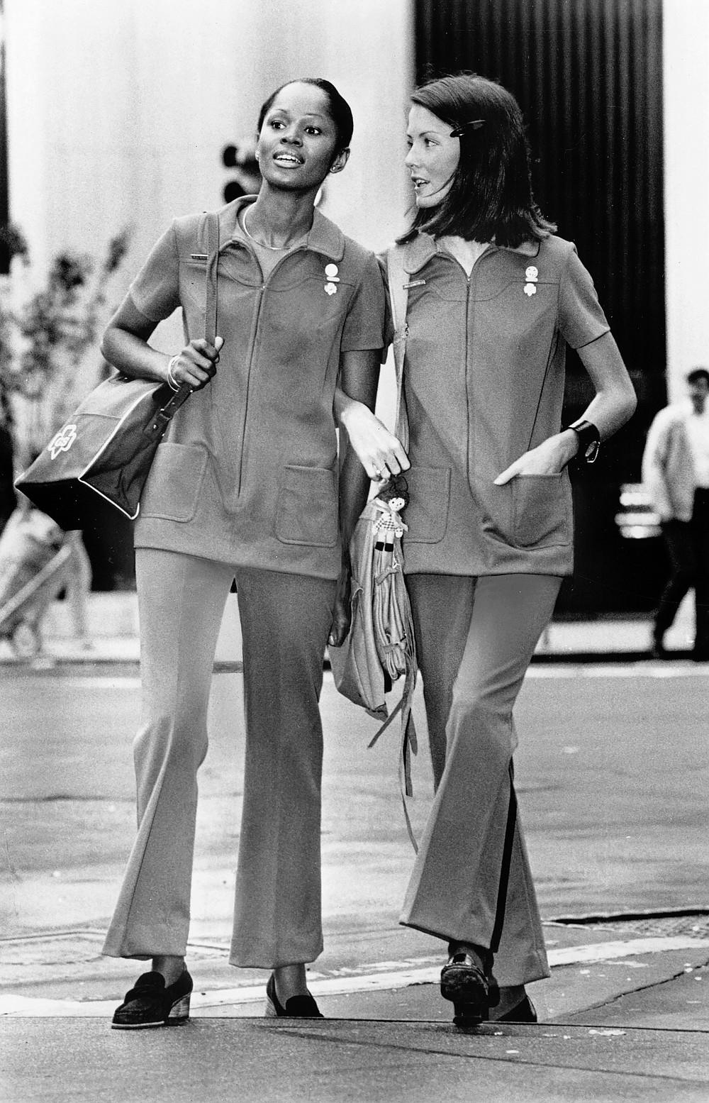 In an undated image provided via GSUSA, the Stella Sloat uniform of the '70s had a zip-front tunic and elastic-waist slacks. For the first time in decades, the Girl Scouts are getting new clothes. (via GSUSA of the USA via The New York Times) -- NO SALES; FOR EDITORIAL USE ONLY WITH NYT STORY GIRL SCOUTS UNIFORM BY JESSICA TESTA FOR AUG. 25, 2020. ALL OTHER USE PROHIBITED. --