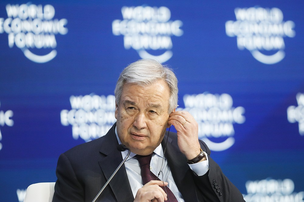 United Nations Secretary-General Antonio Guterres attends a session during the World Economic Forum in Davos, Switzerland, Thursday, Jan. 23, 2020. The United Nations Secretary-General Antonio Guterres on Tuesday, Aug. 25, 2020, said the global tourism industry has been devastated by the coronavirus pandemic, with $320 billion lost in exports in the first five months of the year and more than 120 million jobs at risk. (AP Photo/Markus Schreiber, File)