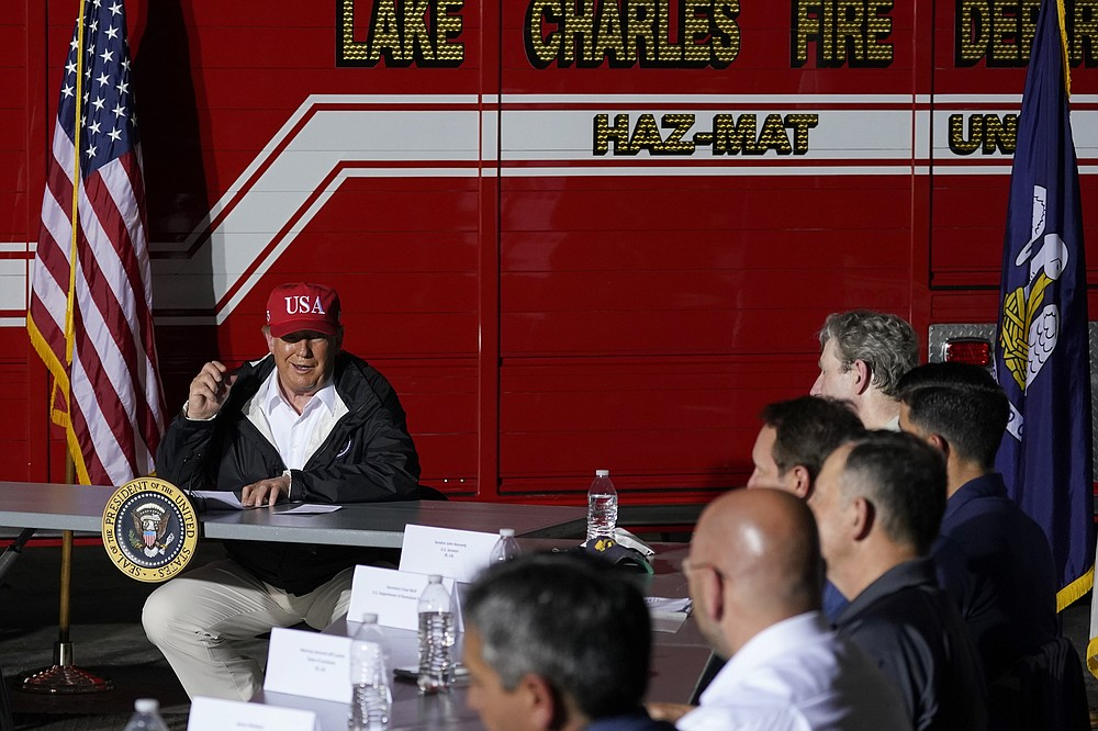 President Donald Trump speaks during a briefing on the response to Hurricane Laura, Saturday, Aug. 29, 2020, in Lake Charles, La. (AP Photo/Alex Brandon)