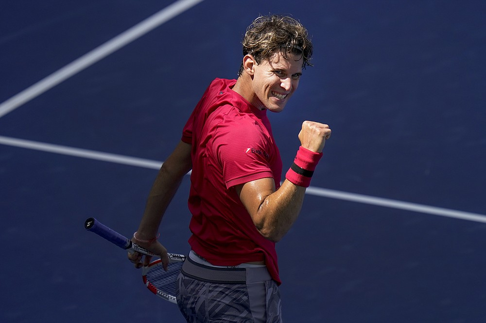 Dominic Thiem, of Austria, reacts during a match against Jaume Munar, of Spain, during the first round of the US Open tennis championships, Tuesday, Sept. 1, 2020, in New York. (AP Photo/Seth Wenig)