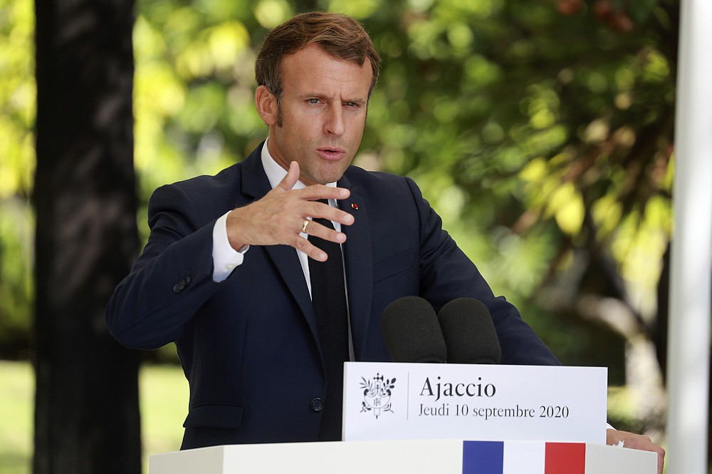 French President Emmanuel Macron gives a press conference at Corsica's prefecture in Ajaccio, Corsica island, Thursday Sept.10, 2020. Leaders of EU countries on the Mediterranean will later hold an emergency meeting amid fears of open conflict with Turkey stemming from mounting tensions over oil and gas resources. (Ludovic Marin / POOL via AP)