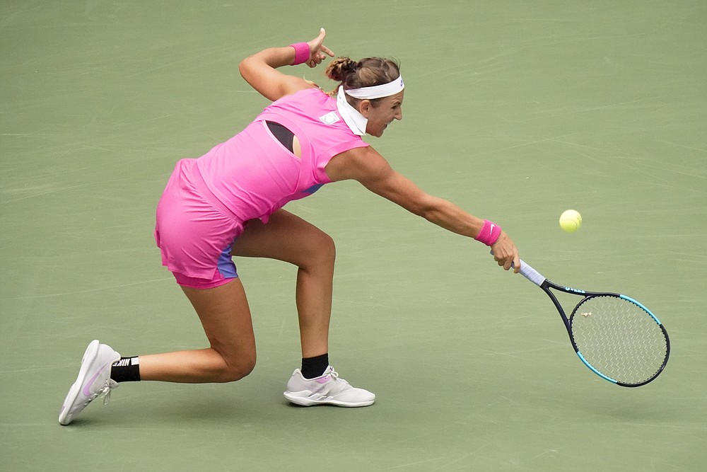 Victoria Azarenka, of Belarus, returns a shot to Naomi Osaka, of Japan, during the women's singles final of the US Open tennis championships, Saturday, Sept. 12, 2020, in New York. (AP Photo/Frank Franklin II)