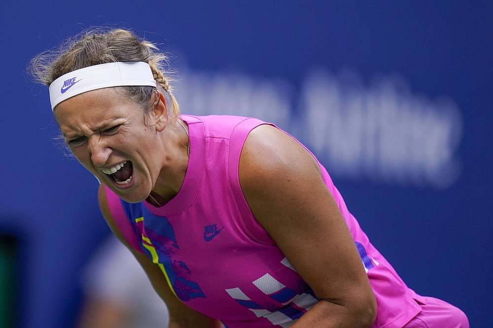 Victoria Azarenka, of Belarus, reacts during the women's singles final against Naomi Osaka, of Japan, during the US Open tennis championships, Saturday, Sept. 12, 2020, in New York. (AP Photo/Seth Wenig)