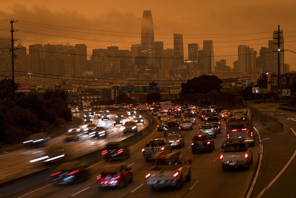 Smoke hangs over highway 101 and buildings in San Francisco on Sept. 9, 2020. Lethal wildfires look likely to affect the lumber industry. MUST CREDIT: Bloomberg photo by David Paul Morris
