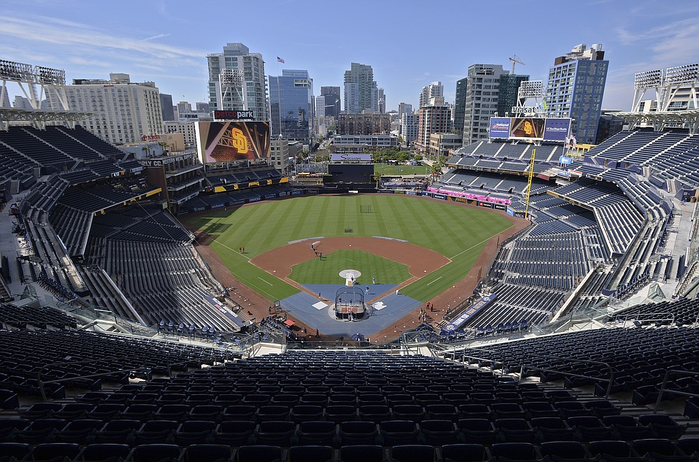 FILE - This is a general view of Petco Park before a baseball game between the San Diego Padres and the St. Louis Cardinals, Friday, June 28, 2019, in San Diego. The Division Series, League Championship Series and World Series will be part of a bubble designed to minimize exposure to the coronavirus. The AL Division Series will be at San Diego's Petco Park and Los Angeles' Dodger Stadium, and the NL Division Series at Arlington's Globe Life and Houston's Minute Maid Park. (AP Photo/Orlando Ramirez, File)