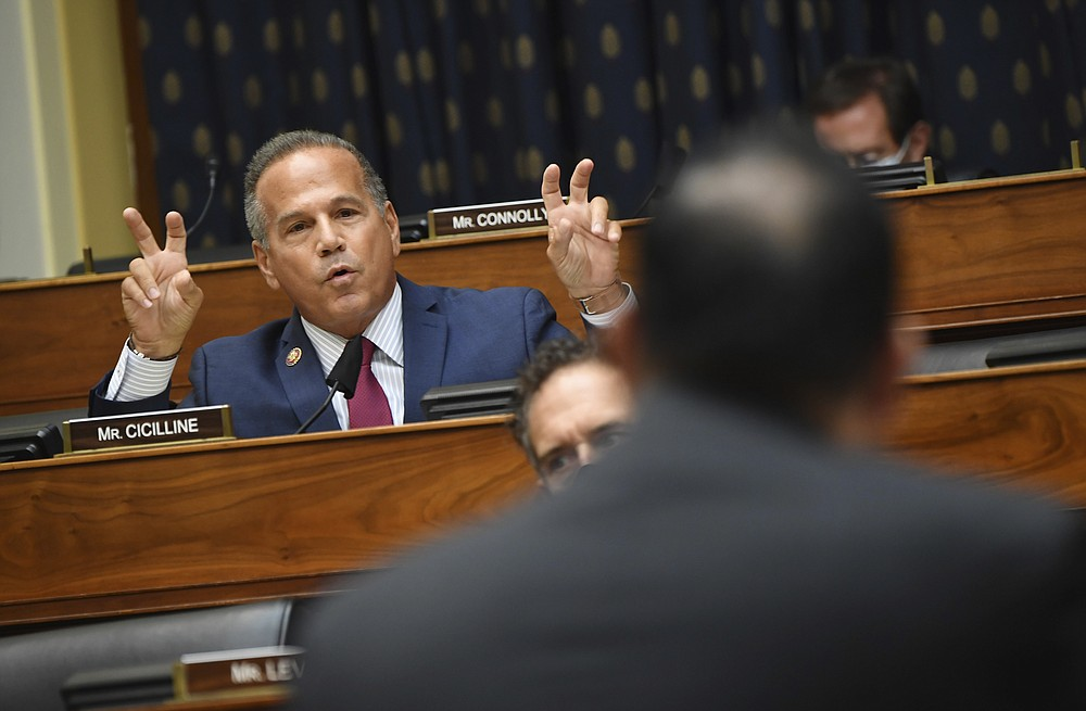 Rep. David Cicilline, D-R.I., questions witnesses during a House Committee on Foreign Affairs hearing looking into the firing of State Department Inspector General Steven Linick, Wednesday, Sept. 16, 2020 on Capitol Hill in Washington. (Kevin Dietsch/Pool via AP)