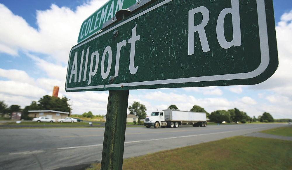 A truck passes through the town of Allport in Lonoke County on Wednesday, Sept. 16, 2020. See more photos at arkansasonline.com/917allport/. (Arkansas Democrat-Gazette/Staton Breidenthal)