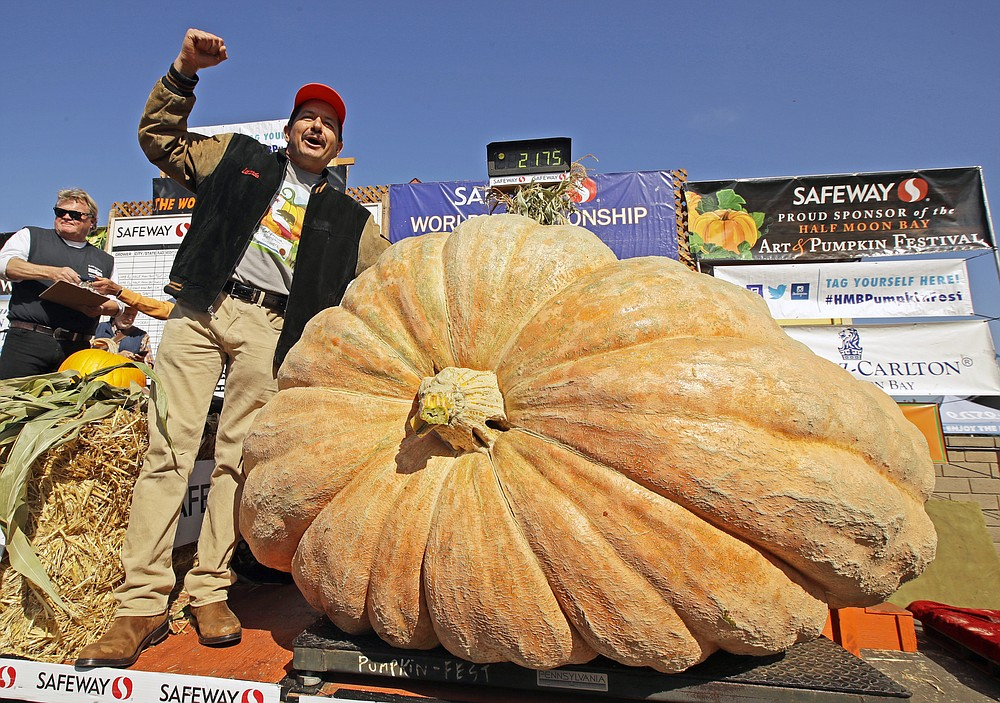 FILE - Leonardo Urena of Napa, Calif., reacts after learning his pumpkin weighed in at 2,175 lbs., a new California weight record on Oct. 14, 2019, in Half Moon Bay, Calif. The Half Moon Bay Art & Pumpkin Festival, now canceled, usually draws up to 300,000 people from around the world. The kick-off event the week before, the World Championship Giant Pumpkin Weigh-Off, will carry on with no public spectators but plenty of humongous orange contestants as the judging goes virtual. (AP Photo/Ben Margot, File)