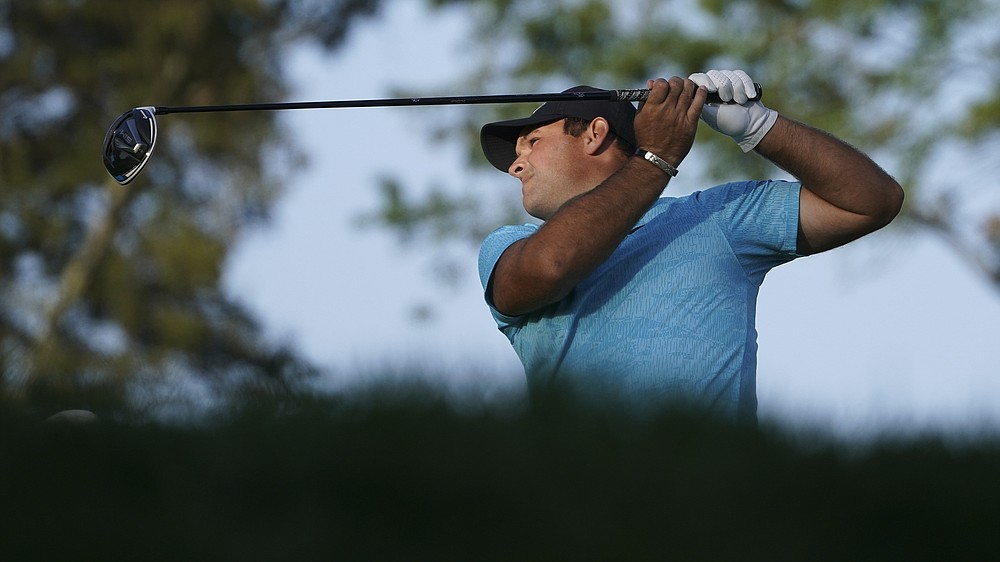 Patrick Reed, of the United States, plays his shot from the sixth tee during the second round of the US Open Golf Championship, Friday, Sept. 18, 2020, in Mamaroneck, N.Y. (AP Photo/John Minchillo)