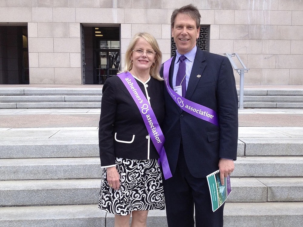 Two years after her diagnosis, in 2014, Denise and Dan Goerke traveled to Washington to advocate for Alzheimer's research. MUST CREDIT: Photo provided by Dan Goerke