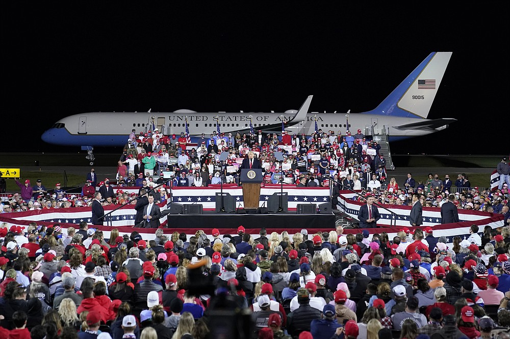 President Donald Trump speaks at a campaign rally, Saturday, Sept. 19, 2020 at the Fayetteville Regional Airport in Fayetteville, N.C. (AP Photo/Chris Carlson)