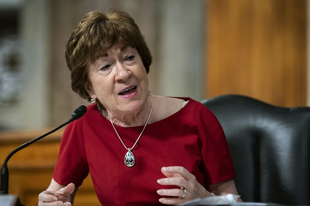 FILE - In this June 30, 2020, file photo, Sen. Susan Collins, R-Maine, speaks during a Senate Health, Education, Labor and Pensions Committee hearing on Capitol Hill in Washington. Collins is once again in a pressure cooker over an issue riveting the nation. This time it's the battle over President Donald Trump's effort to replace the late Justice Ruth Bader Ginsburg on the Supreme Court. (Al Drago/Pool via AP, File)