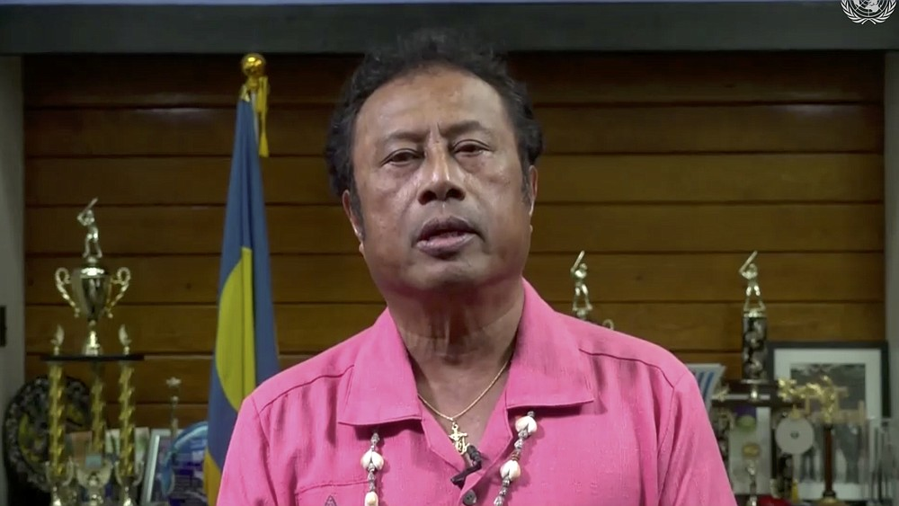 In this image made from UNTV video, Tommy Esang Remengesau Jr., President of Palau, speaks in a pre-recorded message which was played during the 75th session of the United Nations General Assembly, Wednesday, Sept. 23, 2020, at UN headquarters in New York. The U.N.'s first virtual meeting of world leaders started Tuesday with pre-recorded speeches from some of the planet's biggest powers, kept at home by the coronavirus pandemic that will likely be a dominant theme at their video gathering this year. (UNTV via AP)