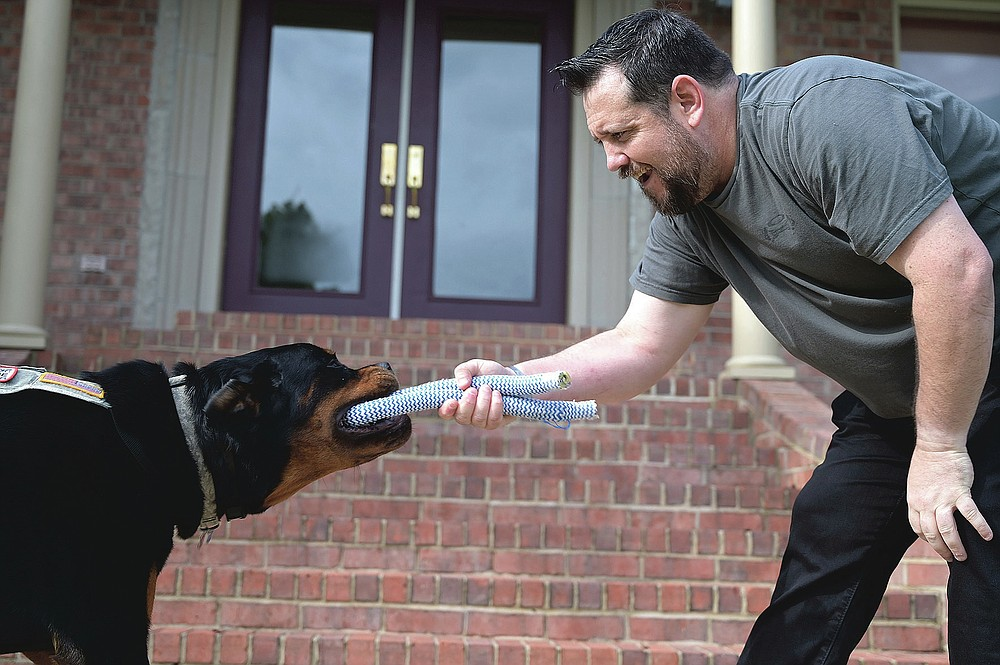 Perry Hopman plays with his service dog, Atlas,  outside his home in Benton on Friday, Sept. 4, 2020. Atlas is trained to help Perry ward off panic attacks, anxiety, and flashbacks on the job as a result of his PTSD while serving as a U.S. Army flight medic.  (Arkansas Democrat-Gazette / Stephen Swofford)