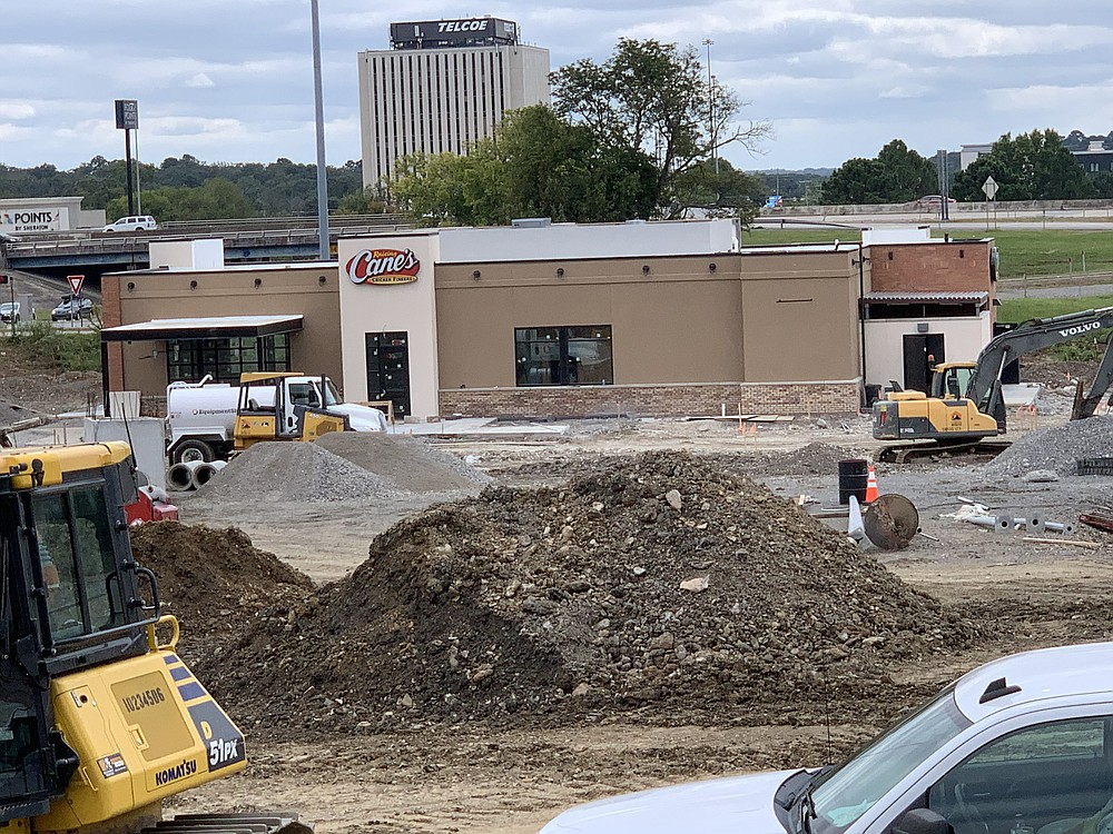 That fast-food-looking restaurant that's been rising at University Avenue and Interstate 630 in Little Rock is, in fact, a Raising Cane's. (Arkansas Democrat-Gazette/Eric E. Harrison)
