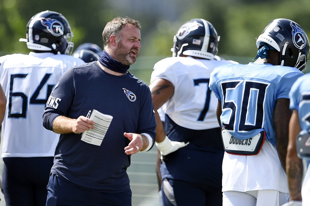 FILE - In this Aug. 24, 2020, file photo, Tennessee Titans outside linebackers coach Shane Bowen instructs his players during NFL football training camp in Nashville, Tenn. (George Walker IV/The Tennessean via AP, Pool, File)