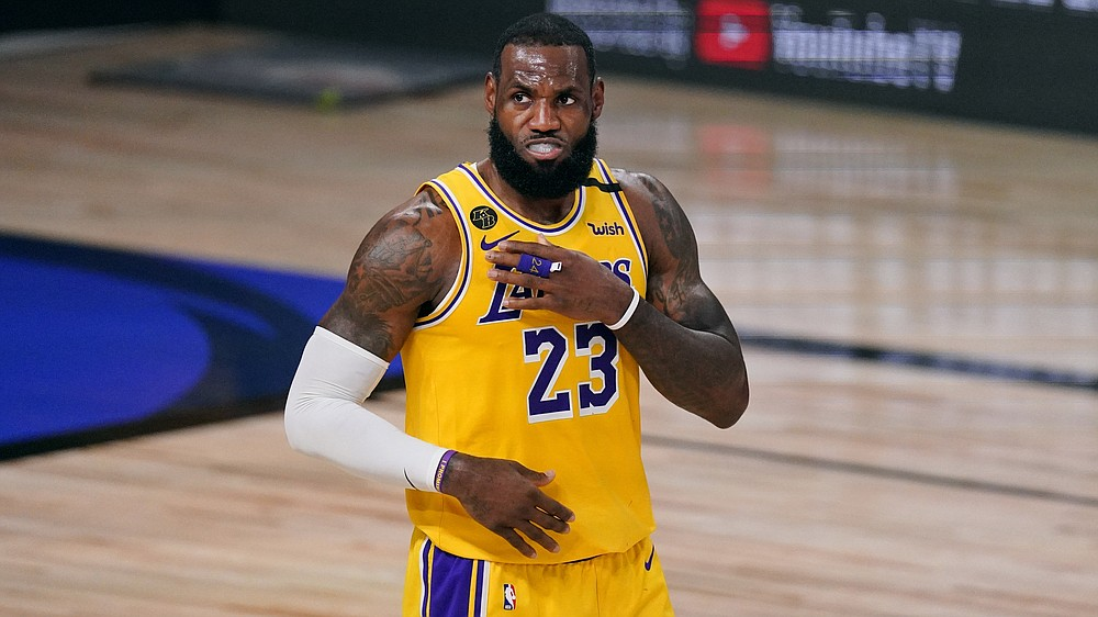 Los Angeles Lakers' LeBron James (23) prepares for play to start during the second half of Game 1 of basketball's NBA Finals Wednesday, Sept. 30, 2020, in Lake Buena Vista, Fla. (AP Photo/Mark J. Terrill)