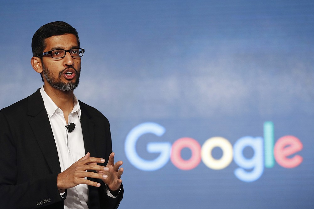 FILE - In this Jan. 4, 2017, file photo, Google CEO Sundar Pichai speaks during a news conference on Google's collaboration with small scale local businesses in New Delhi. U.S. tech companies fear the Trump administration will target a visa program they cherish for bringing in engineers and other specialized workers from other countries. Although these visas, known as H-1B, aren't supposed to displace American workers, critics say safeguards are weak. A federal judge on Thursday, Oct. 1, 2020, temporarily lifted a visa ban on a large number of work permits, undercutting a measure that the Trump administration says will protect American jobs in a pandemic-wracked economy. (AP Photo/Tsering Topgyal, File)