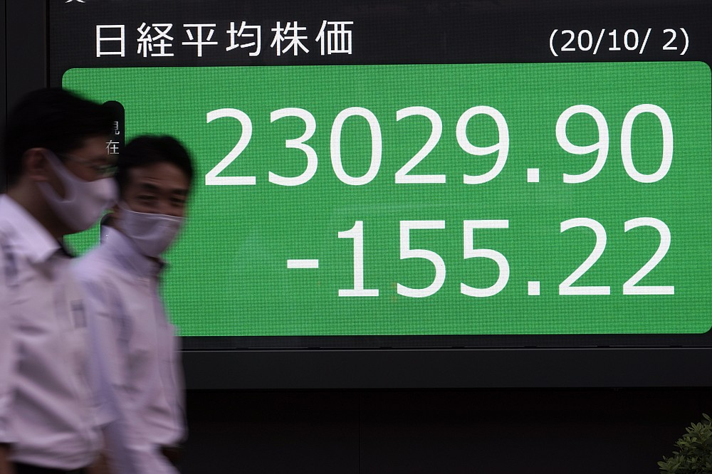 Men walk past an electronic stock board showing Japan's Nikkei 225 index at a securities firm in Tokyo Friday, Oct. 2, 2020. U.S. stock futures and Asian shares have fallen after U.S. President Donald Trump said he and first lady Melania Trump tested positive for the coronavirus. (AP Photo/Eugene Hoshiko)