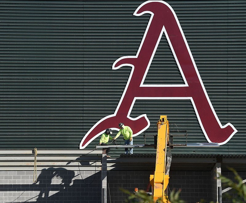 Construction continues Monday Oct. 5, 2020 on the 45,000-square-foot baseball center being built on the southwest side of Baum-Walker Stadium in Fayetteville. The project includes new right-field seating options for Arkansas' home baseball games. Visit nwadg.com/photos for more images. (NWA Democrat-Gazette/J.T.WAMPLER)