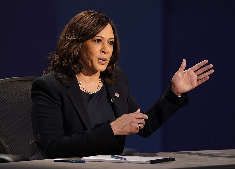 Democratic vice presidential candidate Sen. Kamala Harris, D-Calif., makes a point during the vice presidential debate Vice President Mike Pence Wednesday, Oct. 7, 2020, at Kingsbury Hall on the campus of the University of Utah in Salt Lake City. (AP Photo/Patrick Semansky)