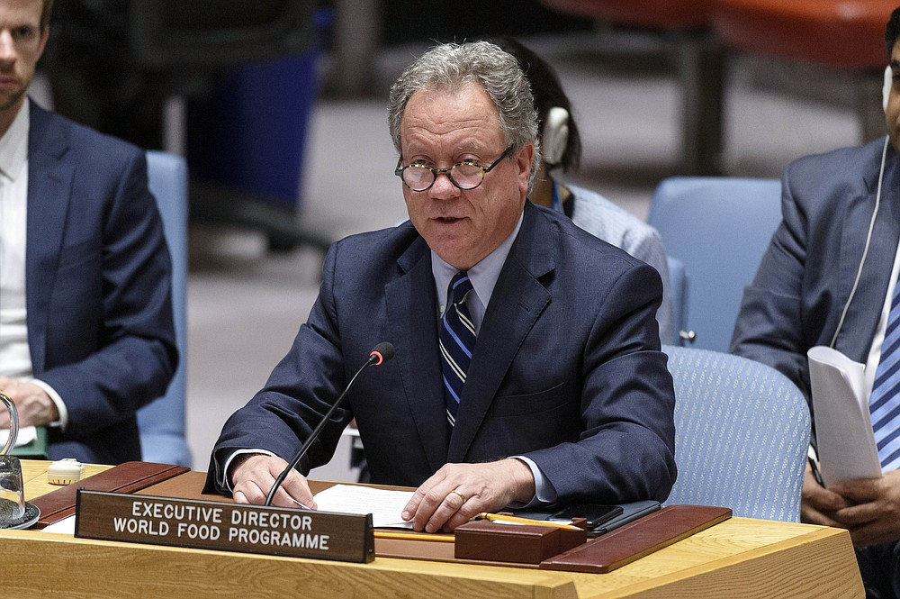 In this photo provided by the United Nations, David Beasley, Executive Director of the United Nations World Food Program (WFP) briefs the Security Council on the situation in the Middle East, July 18, 2019, in New York. The United Nations' World Food Program has won the 2020 Nobel Peace Prize for its efforts to combat hunger and food insecurity around the globe. (Loey Felipe/UN Photo via AP)
