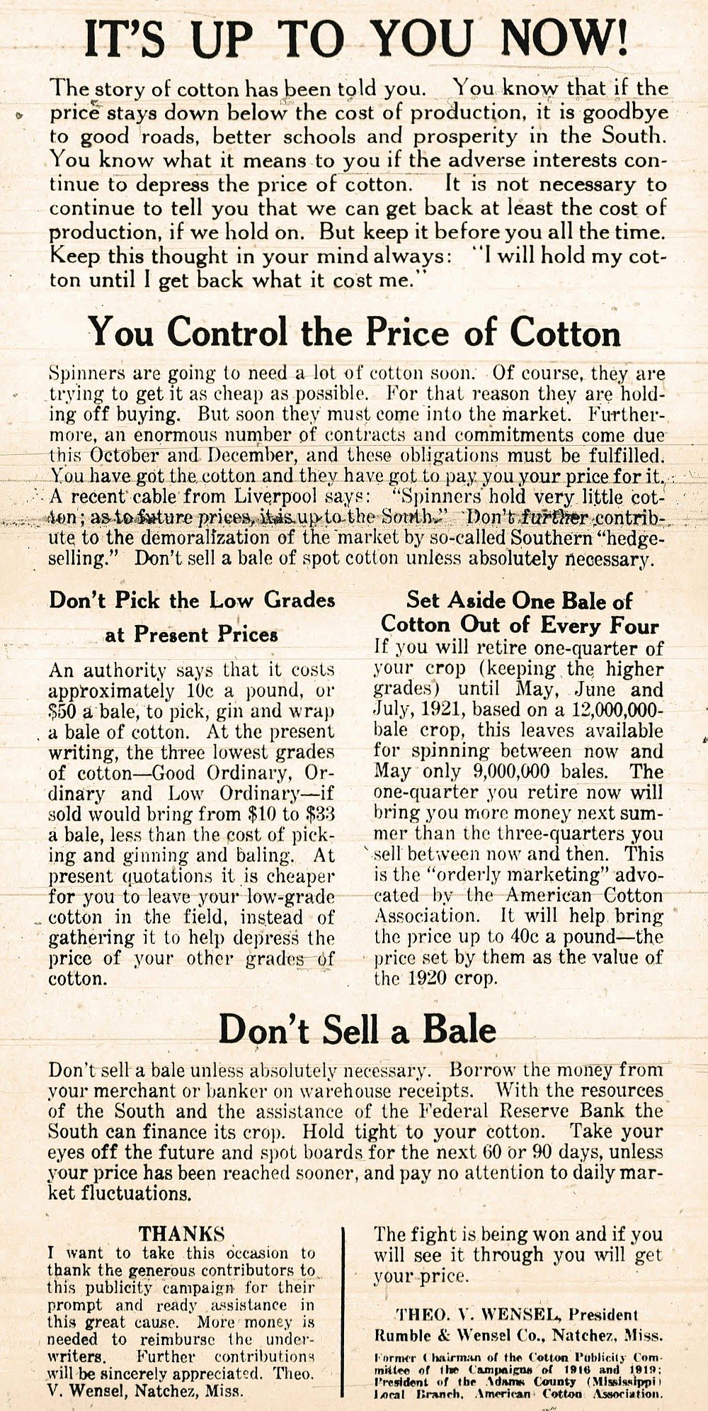 Ad urging farmers not to bring any more cotton to market until the price improves, from the Oct. 11, 1920, Arkansas Democrat.  (Arkansas Democrat-Gazette)